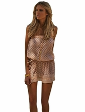 Adela Bandeau Short Dress Nude