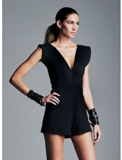 ALEXIS Georgina V-Neck Romper in Black