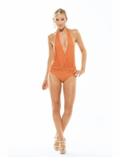 Ava Swimwear Sicily Low Plunge One Piece in Bronze