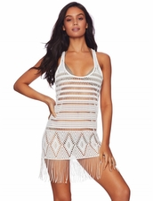 Beach Bunny Desert Deamer Fringe Mini Dress - White