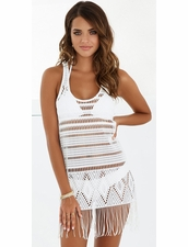 Beach Bunny Desert Deamer Fringe Mini Dress in White
