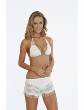 Bettinis Hippie Lace Shorts with Fringe in Bone