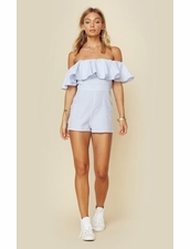 Blue Life Striped Ruffle Romper - Blue