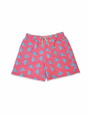 Classic Swim Trunk Red Flying Fish
