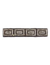 Cocobelle Elastic Pattern Belt in Rectangles Brushed Silver