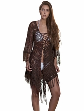 Coketta Beachwear Anakena Lace-Up Decollette Crochet Kimono in Brown