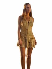 Coketta Beachwear Blanca Lace-Up Decollette Crochet Dress - Gold