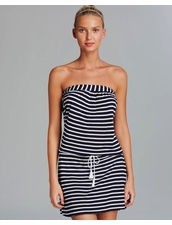 Debbie Katz Marina Striped Jersey Dress Swim Cover -Up