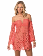 Despi Swimwear Ibiza Floral Lace Detail Dress in Coral