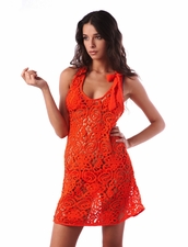 Despi Swimwear Orange Lace Ribbon Dress