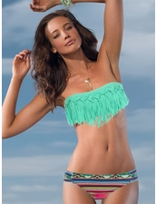 Dolly Knotted Fringe Bandeau Top in Pistchio