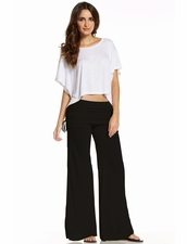 Elan BeachwearFlair Clinch Waistband Pants in Black