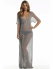 Elan Beachwear Maxi Kaftan in Natural