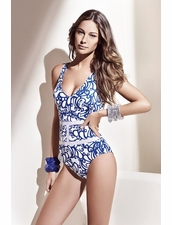 Gideon Oberson Miro One Piece Swimsuit in White-Blue