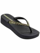Ipanema Mesh Platform Flip Flop in Black / Gold