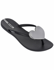 Ipanema Wave Heart Flip Flop in Black