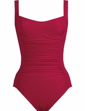 Karla Colletto Basic Square Neck One Piece Swimsuit - Garnet