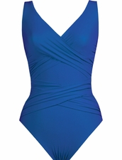 Karla Colletto Basic Surplice Neck One Piece Swimsuit in Lips