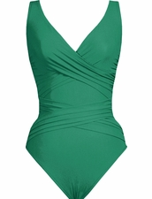 Karla Colletto Basic Surplice Neck One Piece Swimsuit in Jade