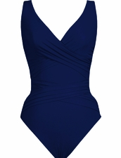 Karla Colletto Basic Surplice Neck One Piece Swimsuit -Navy