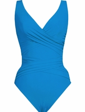 Karla Colletto Basic Surplice Neck One Piece Swimsuit in Turquoice