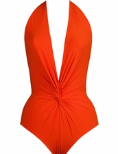 Karla Colletto Plunging Halter One-Piece Swimsuit - Solid Cheery
