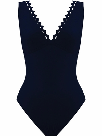 Karla Colletto Rick Rack Scalloped-Neck Underwire One-Piece Swimsuit - Navy