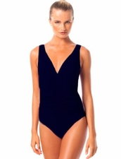 Karla Colletto Smart Suit Basic V-Neck One Piece in Navy