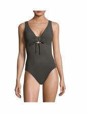 Karla Colletto Swimwear Basic Lace- Up One-Piece V-Neck- Army