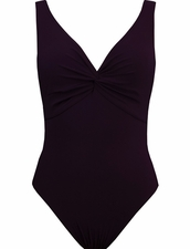 Karla Colletto Twist V-Neck Silent Underwire Tank - Wine
