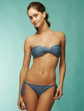 KIMINIS Solid Navy Twisted Bandeau Top Bikini