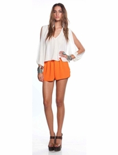 lovers+friends  Woodstock Neon Orange Shorts