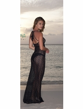 Luli Fama Amor Marinero Tassel Back Maxi in Black