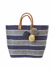 Mar Y Sol Capri Woven Basket Tote in Navy