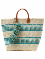 MAR Y SOL Caracas Woven Sisal Basket With Pom Poms MAR Y SOL
