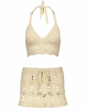 Coketta Beachwear Hand Crochet Mini Skirt in Ivory