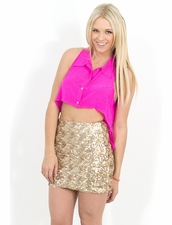 Naven Sleeveless Tuxedo Crop Top in Pop Pink