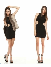 Naven Cut Out Dress in Black/Black
