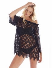 Peixoto Beachwear Rose Lace Short Dress in Black