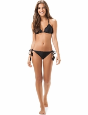 Salinas Solids Triangle Rippled Top & String-Tie-Side  Bottom in Black