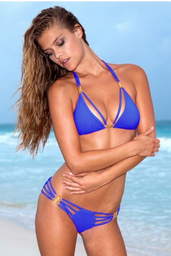 Sauvage Diva Strappy Bikini in Solid Cobalt Blue
