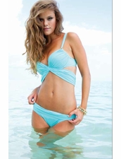 Sauvage Mon Cheri Push Up Wrap Top Bikini in Aqua
