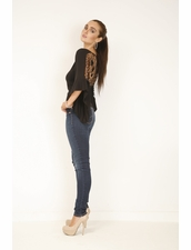 SKY Annan Crochet Top in Black