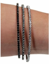 Triple Mini Rhinestone Wrap Bracelet in Hematite Combo by Funky Junque at Pesca Trend
