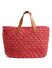 Valencia Crocheted Beach Tote in Coral  Mar Y Sol