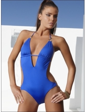Vitamin A Gold Catwalk Monokini in Cobalt