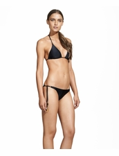 Vix Swimwear Black Ivory Triangle Bikini Top and Long Tie Bottom