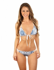 Water Glamour Swimwear Elizabeth Crochet RacerbackTriangle Top in Blue Kaleidoscope/White
