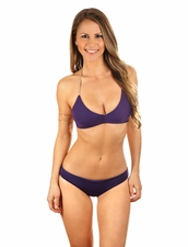 Water Glamour Swimwear Kira Braided Halter Top in Aubergine/Nude