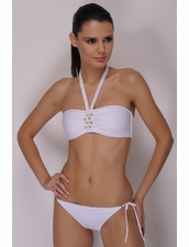 Zeki Swimwear 1786  Tie-Side Bottom in White